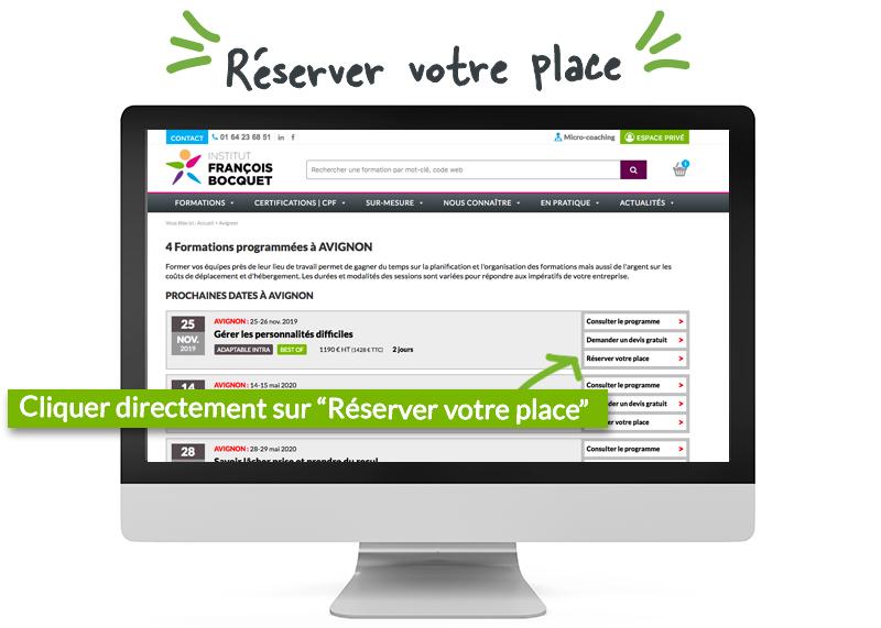 Réserver votre place Institut François Bocquet